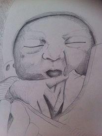 Zeichnung, Kind, Geburt, Baby