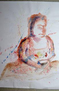 Mutter, Menschen, Aquarellmalerei, Malerei