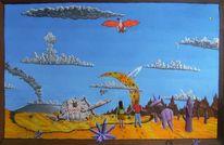 Naive malerei, Mond, Wüste, Großer roter vogel