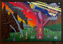 Dämmerung, Acrylmalerei, Fantasie, Kristall