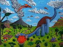 Dinosaurier, Vulkan, Flugsaurier, Acrylfarben