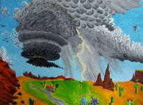 Gewitter, Acrylmalerei, Blitz, Superzelle