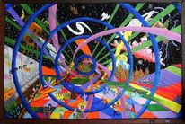 Acrylmalerei, Menschen, Naive malerei, Disko