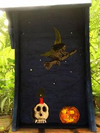 Vogelhaus, Hexe, Halloween, Kürbisse