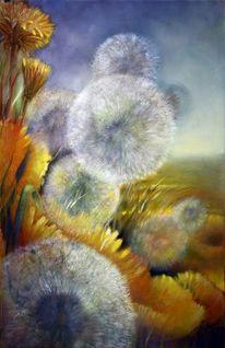 Pusteblumen, Frühling, Löwenzahn, Malerei