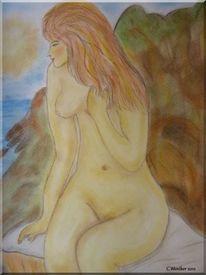 Akt, Figur, Menschen, Pastellmalerei