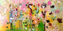 Frau, Geburtstag, Malerei, Acrylmalerei