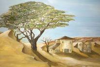 Häuser, Baum, Wüste, Malerei
