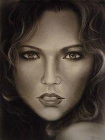 Portrait, Frau, Malerei, Ölmalerei
