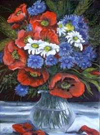 Stillleben, Strauß, Feldblumen im glaskrug, Malerei