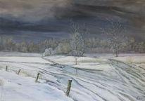 Frostig, Abend, Winter, Landschaft