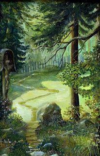 Waldpfad, Kruzifix, Malerei