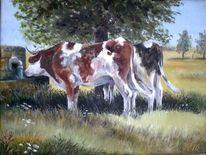 Mittagshitze, Kuh, Tiere, Weide