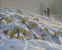 Landschaft, Wintereinbruch, Winter, Malerei