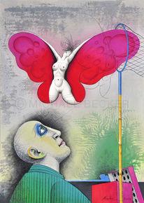 Erotik, Frau, Schmetterling, Akt