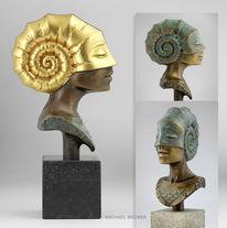 Bronze, Plastik, Büste, Ammonit