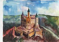Schloss, Landschaft, Hohenzollern, Skizze