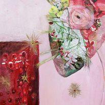 Herz, Flötenspieler, Blumen, Goldene sterne