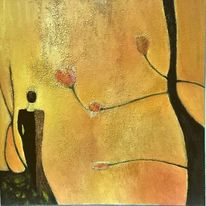 Frau, Erwartung, Baum blüten, Ruhe