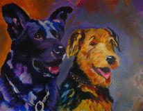 Gemälde, Hund, Freunde, Schäferhund