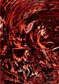 Rot, Konfusion, Hinterglasaquarell, Aquarell
