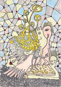 Brot, Käse, Käselöcher, Zeichnungen