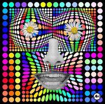 Geometrisch, Blumenkraft, Nase, Popart