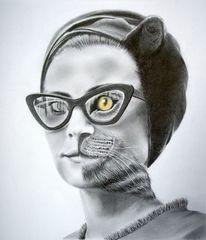 Brille, Augen, Frau, Katzenöhrchen