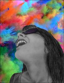 Freude, Farben, Sonnenbrillen, Gesicht