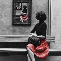 Grau, Rot schwarz, Spiegel, Collage