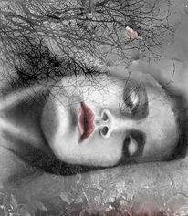 Schlaf, Baum, Pfütze, Frau