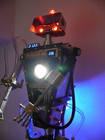Messing, Robotart, Lampe, Rot