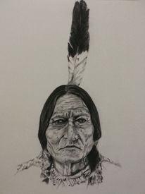 Kreide, Indianer, Schwarz weiß, Modern