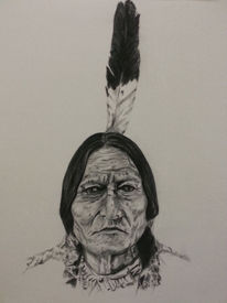 Malerei, Wild, Menschen, Sittingbull