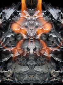 Fantasie, Komposition, Gesicht, Feuer