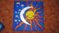 Malerei, Mond, Sonne