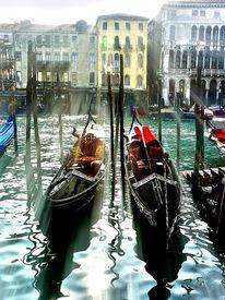 Sonnenstrahlen, Venedig, Gondel, Fotografie
