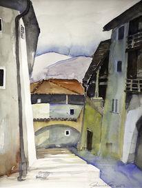Dorf, Südtirol, Gasse, Aquarell