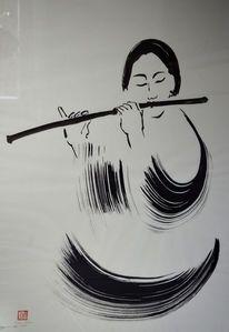 Bambusflöte, Schwarz weiß, Zeichnung, Japantusche