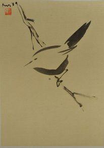 Sumi, Vogel, Zeichnung, Japantusche