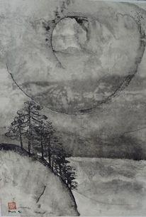 Sonne, Tusche, Zeichnung, Bergwald