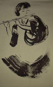 Bambusflöte, Sumi, Zeichnung, Flötenspiel