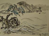 Zeichnung, Japanische landschaft, Japantusche, Sumi