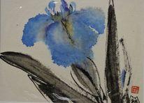 Japanpapier, Lilie, Japantusche, Blau