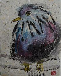 Zeichnung, Vogel, Blaulila, Japantusche