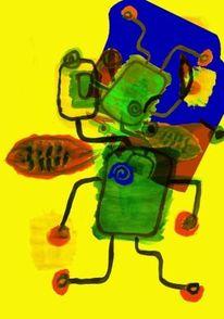 Mischtechnik, Bleistiftzeichnung, Kunstdruck, Wasserfarbe