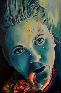 Zeitgenössische kunst, Nixe, Acrylmalerei, Modern