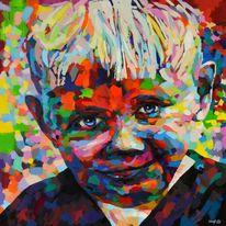 Acrylmalerei, Blau, Pop art, Rudi