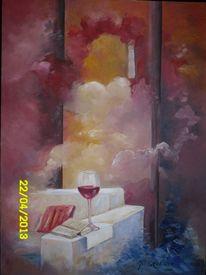 Malerei, Lesen, Rotwein