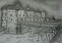 Bleistiftzeichnung, Burg, Zeichnung, Zeichnungen